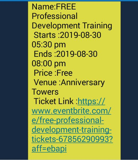 Eventbrite Events sent via SMS