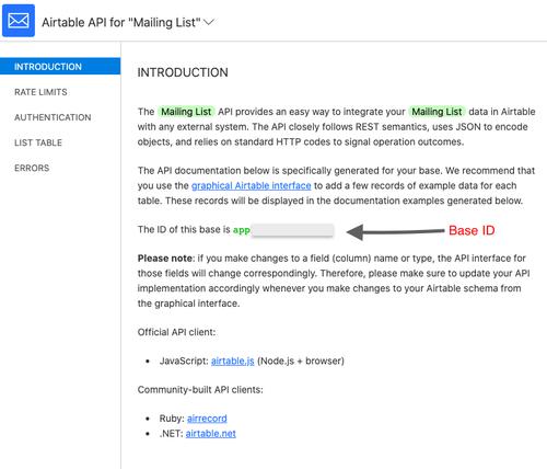 API documentation page