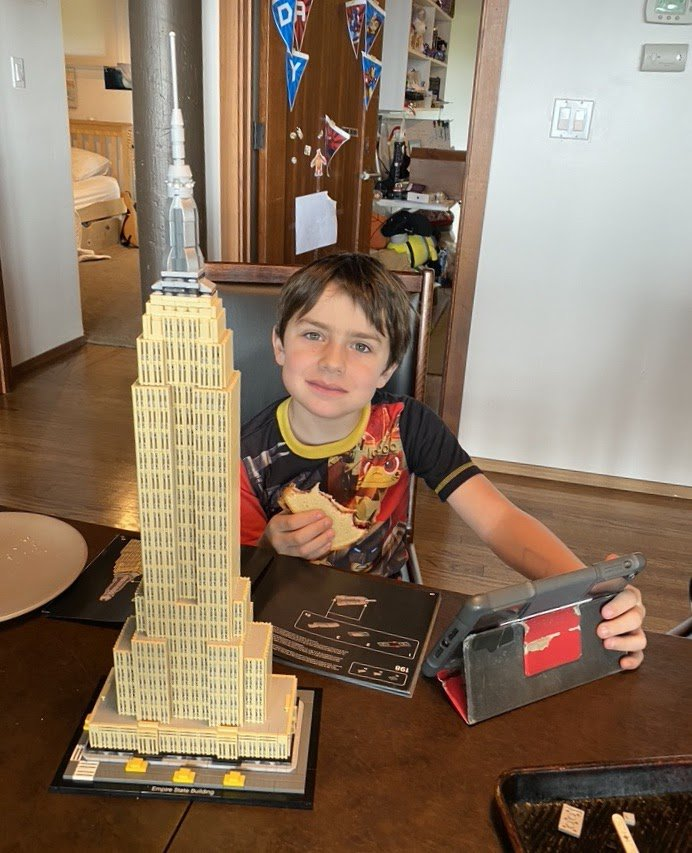 Marc's son Connor with an Empire State Building lego set