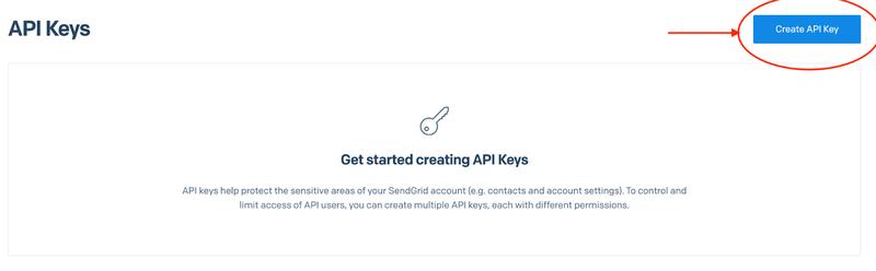 Create a SendGrid API key, step 1.