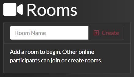 Lista de salas de chat de video antes de agregar una sala