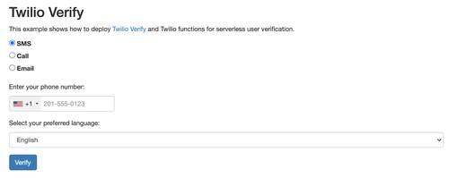 deployed application screenshot with a form to select a channel, enter a phone number, and submit button to verify