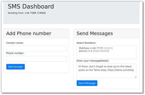 Screenshot of the dashboard, sending a message about the Twilio blog to a couple of phone numbers in different countries