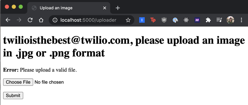 """screenshot of localhost:5000 """"uploader"""" page telling the email address to upload a valid file in .jpg or .png format"""