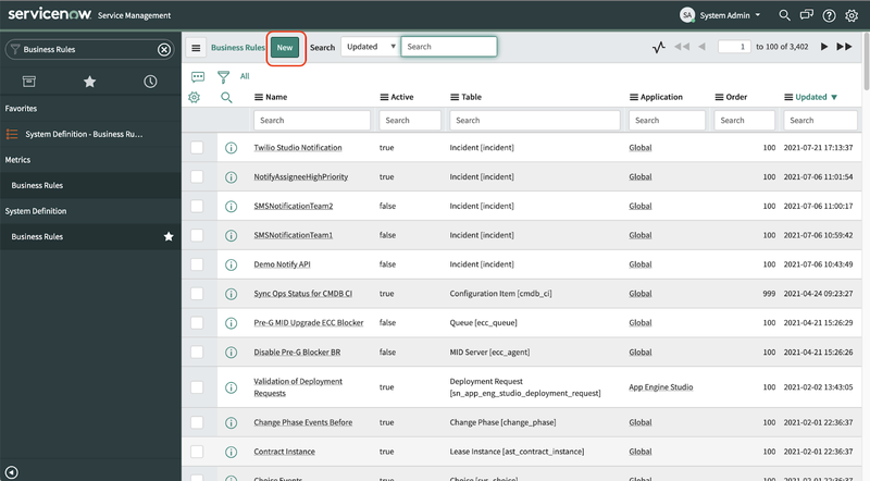 A screenshot of the Business Rules section of the ServiceNow dashboard