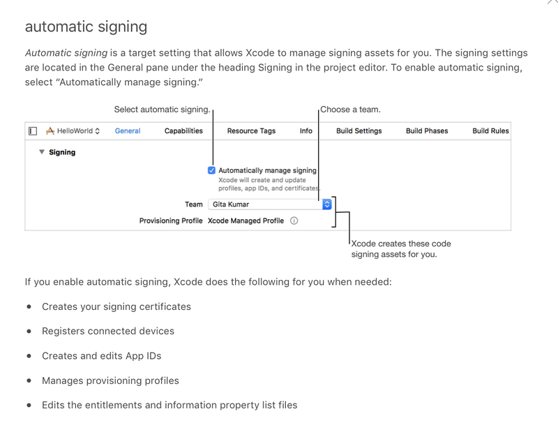 Automatic signing with Xcode