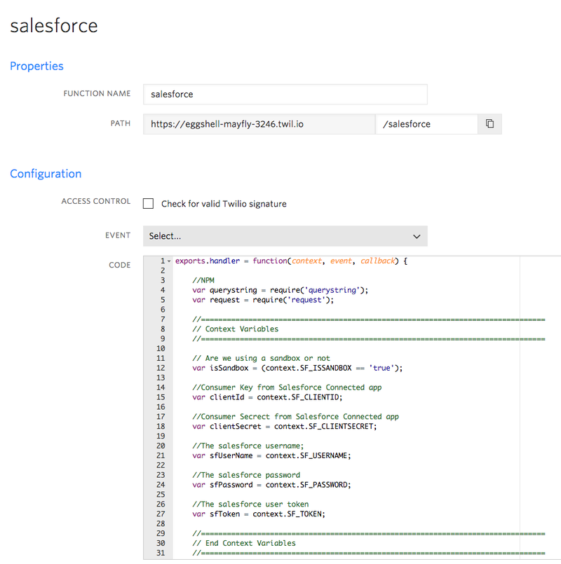 Twilio function example to push SMS status updates to Salesforce