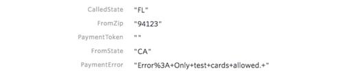 Stripe payment error example