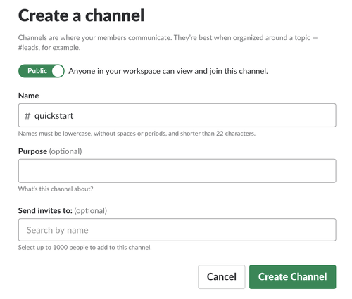 Create a new public Slack channel