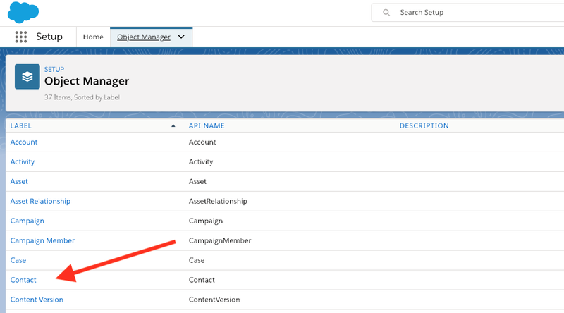 Add a contact in the Salesforce Object Manager