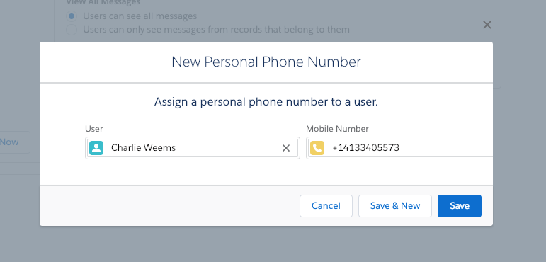 Assign a Personal Phone Number in Twilio for Salesforce
