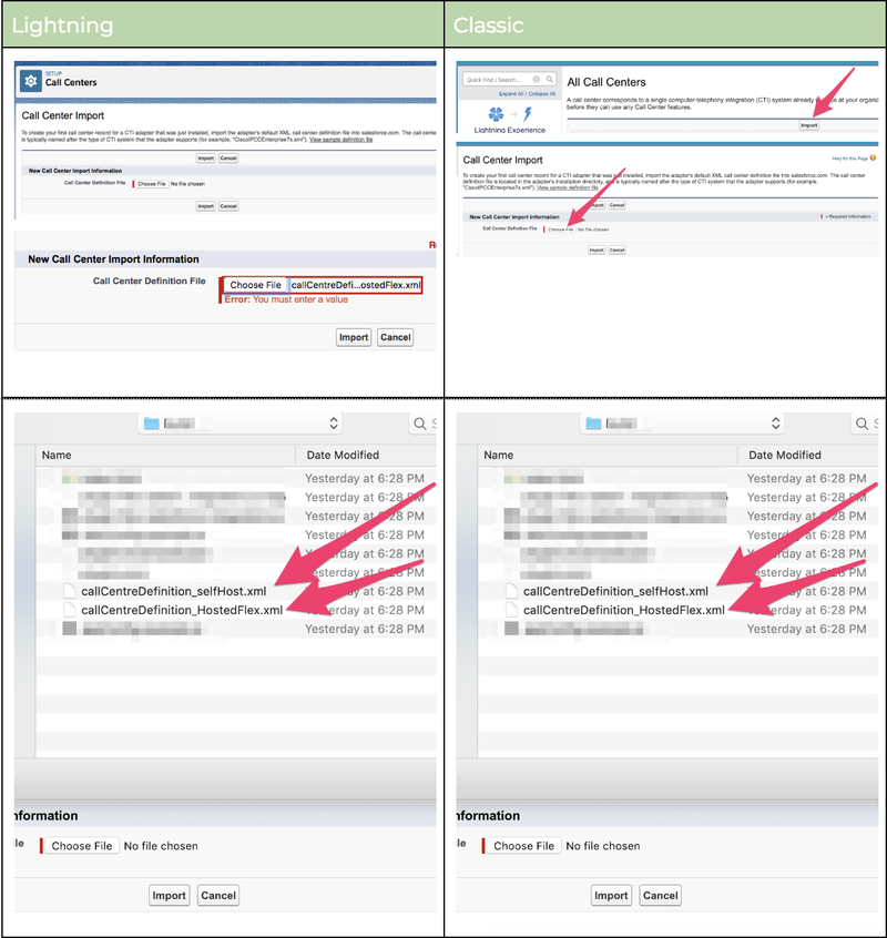 Salesforce: Import call definition file