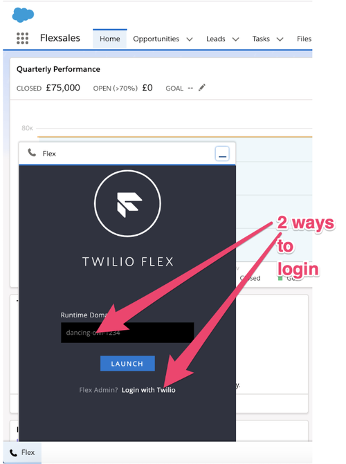 Log in to Twilio Flex via Salesforce.