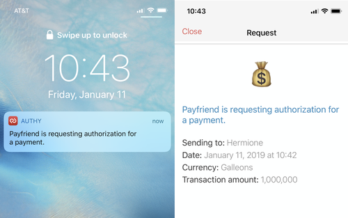 authy push authorization on locked screen and inside app