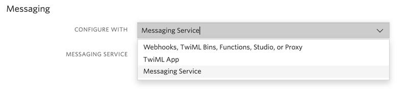 configure message service twilio