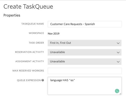 TaskRouter TaskQueue Sample - Spanish