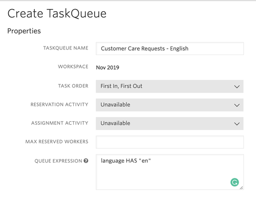 TaskRouter TaskQueue Example - English