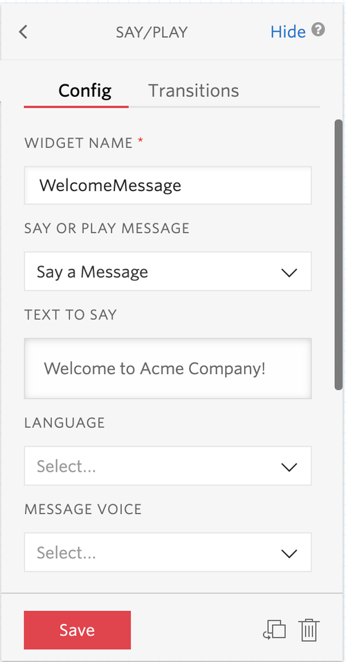 The Studio say/play widget configuration with the widget name and text to say fields filled out