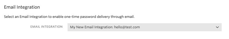 Email Integration select from verify service