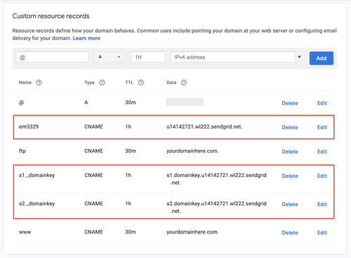 google domains custom dns records for SendGrid
