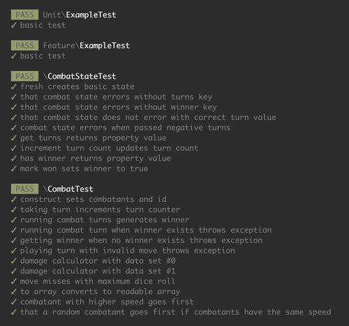 Example output from Laravel 7 test runner