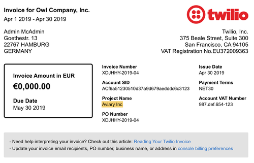 Account Project Name in Invoice Header
