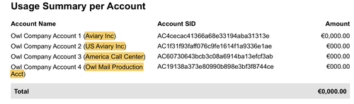 Account Project Name in Usage Summary