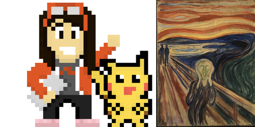 side-by-side Pikachu and the Scream