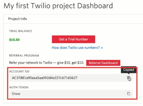 Twilio Account Dashboard