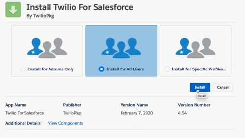 Salesforce installation dialog