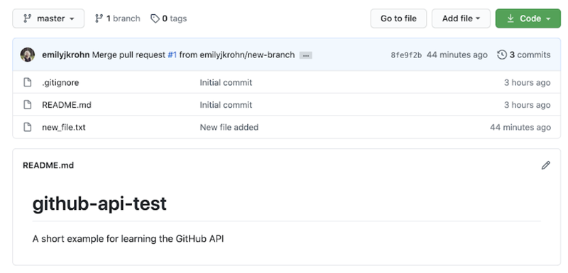 screenshot of the github-api-test repository