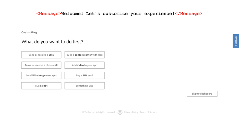 sign up dashboard