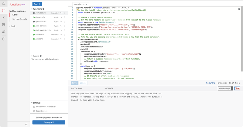 A code editing interface with sample code in it