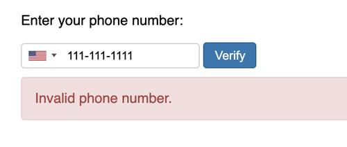 invalid phone number validation