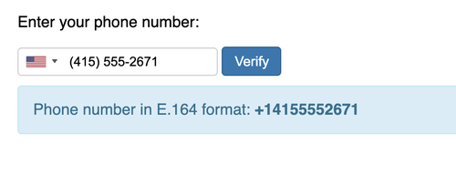 phone number input translated to e.164 format