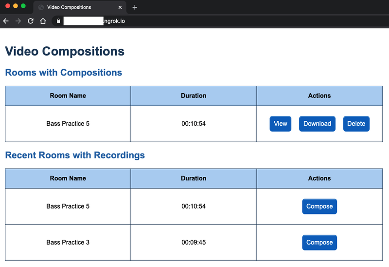 """Video compositions table, with a room called """"Bass Practice 5"""" in the Rooms with Compositions table."""