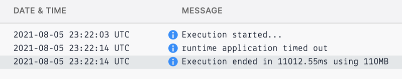 Function timeout in logs