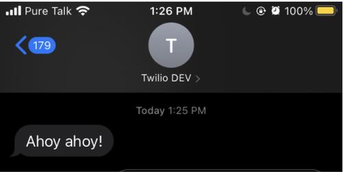 """screenshot of text message """"Ahoy ahoy!"""""""