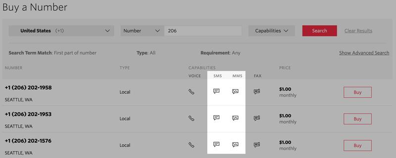 SMSまたはMMSに対応した電話番号を購入します