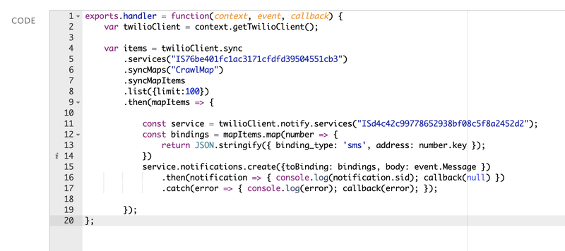 Twilio Function to broadcast messages