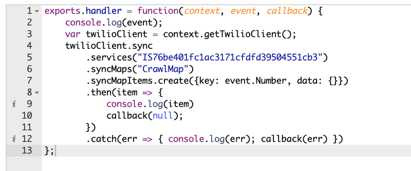 SyncMap in a Twilio Function