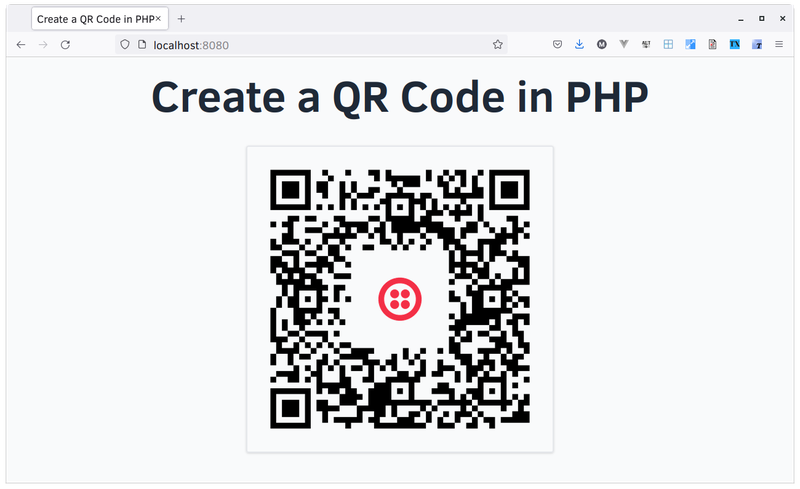 The QR code with branding rendered in the browser.