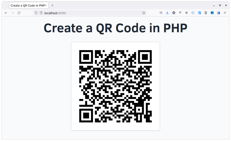 The QR code rendered in the browser.