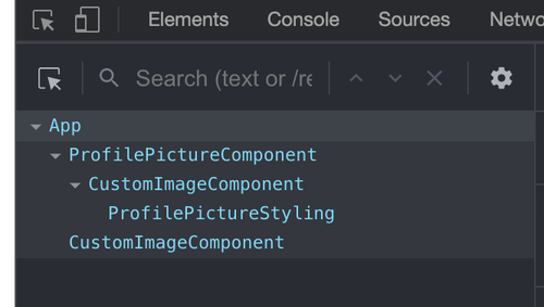 screenshot of the components breakdown of the React app
