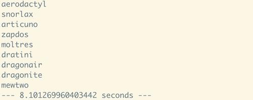 Result of 150 API calls using aiohttp