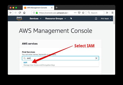 """Wir suchen in der AWS Managementkonsole nach """"IAM"""" und wählen das Ergebnis aus der Dropdown-Liste aus."""