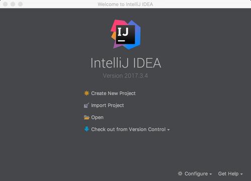 IntelliJ IDEA home screen