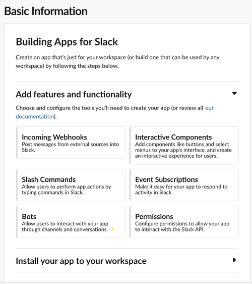 slack app configuration