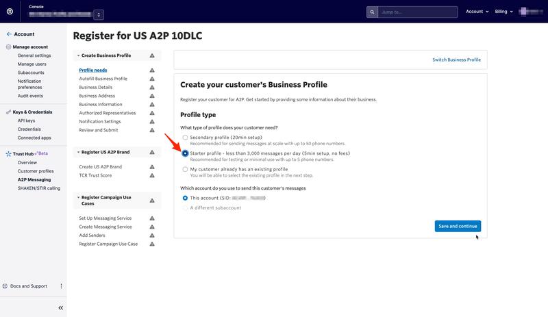 Select Starter Profile Type