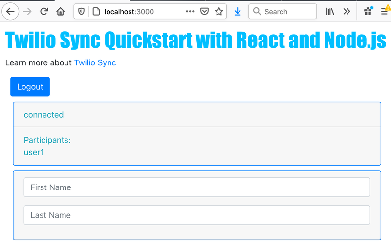 Sync React Quickstart Screen - Logged In